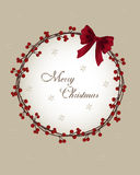 Christmas card - wreath with berries Stock Photos