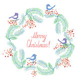 Christmas card with wreath and birds retro design Stock Images