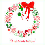 Stylized Christmas wreath from snowflakes Stock Image