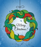 Christmas card with wreath of colorful twirls Stock Image