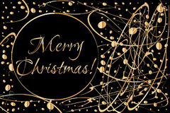 Christmas card with wreath from gold abstract shapes on dark background and copy space for your wishes. Stock Photo