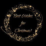 Christmas card with wreath from gold abstract shapes on dark background and copy space for your wishes. Royalty Free Stock Photography