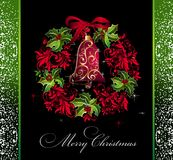 Christmas card with wreath and holly Stock Photography
