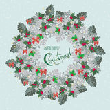 Christmas card with wreath of holly berry and  cineraria Royalty Free Stock Image
