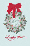 Christmas card with wreath of holly berry and  cineraria Royalty Free Stock Photography