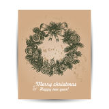 Christmas card with a wreath in the middle Stock Photography