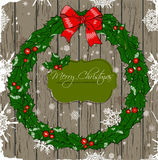 Christmas card with wreath. Vector illustration EPS 8 Royalty Free Stock Photos