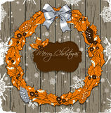 Christmas card with wreath. Royalty Free Stock Photography