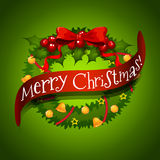 Christmas card with wreaths decorations Stock Photo