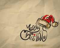 Christmas Card  wrinkled recycle paper background Stock Photography