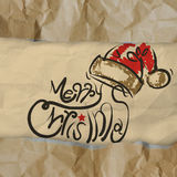 Christmas Card wrinkled recycle paper background Stock Photo