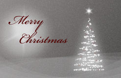 Christmas Card X-Mas Card with Christmastree Snow and Stars grey and red Royalty Free Stock Images