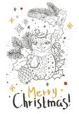 Christmas card for xmas design with doodle cat. And decorations Stock Photos