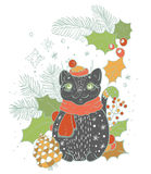 Christmas card for xmas design. With doodle cat and decorations Royalty Free Stock Images