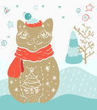 Christmas card for xmas design. With doodle cat and decorations Stock Images
