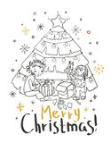 Christmas card for xmas design with doodle children. And holiday fir tree with gifts Stock Images