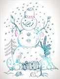 Christmas card for xmas design hand drawn snowman Royalty Free Stock Photos