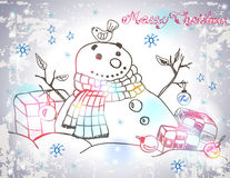 Christmas Card for xmas design with hand drawn snowman Stock Images