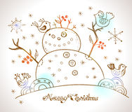 Christmas Card for xmas design with snowman Royalty Free Stock Photography