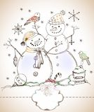 Christmas card for xmas design with snowmen. Christmas card for xmas design with balls, bird and hand drawn snowmen and label for text Stock Photography