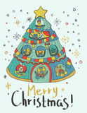 Christmas card for xmas design. With Christmas tree home and cute animals Stock Image