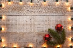 Christmas card with xmas lights frame and copy space royalty free stock photos