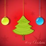 Christmas card with xmas tree stock illustration