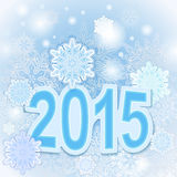 Christmas 2015 card. Christmas 2015 year blue snowflake card Stock Photography