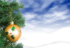 Christmas card -  yellow ball Stock Photography
