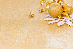 Christmas carde with ornaments Stock Images