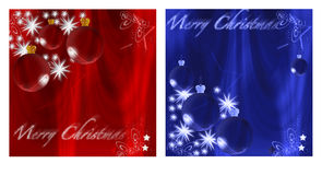 Christmas cards. Two Xmas cards with blue and red background Royalty Free Illustration