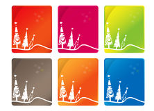 Christmas cards. Various color Christmas cards on white Royalty Free Stock Photo