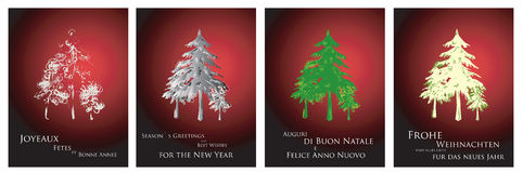 Christmas cards 2014. A nice collection of greeting cards in 4 major languages: English, French, Italian and German. Just add your logo and youre done! Royalty Free Stock Photography