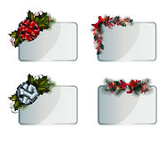 Christmas cards. Set of vector silver Christmas cards decorated with decorative elements Stock Photography