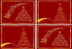 CHRISTMAS cards. Gold Christmas Tree isolated on a red background Stock Image