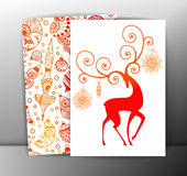 Christmas cards or backgrounds with deer and. Christmas beautiful cards or backgrounds with deer and decorations. Vector, EPS10 Royalty Free Stock Images