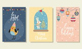 3 Christmas cards Royalty Free Stock Images