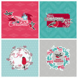 Christmas Cards with Birds and Wreath Royalty Free Stock Image