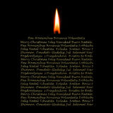 Christmas Cards candle in many languages Stock Photography