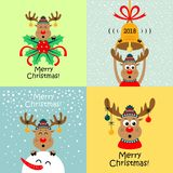Christmas cards with cartoon deer. Vector. Collection of Christmas cards with cartoon deer. Vector illustrations royalty free illustration