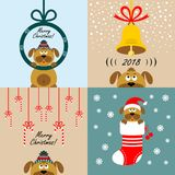 Christmas cards with cartoon dogs. Vector. Collection of Christmas cards with cartoon dogs. Vector illustrations stock illustration