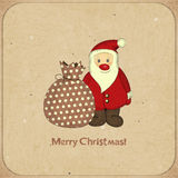 Christmas cards with cartoon Santa and gift Stock Photos