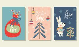 Christmas cards in cartoon style Royalty Free Stock Photography