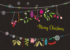 Christmas cards, Christmas garlands, twig, jars and ornaments, Merry Christmas wishes Stock Image