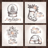 Christmas Cards Collection. On The Wood Background Royalty Free Stock Images