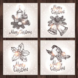 Christmas Cards Collection. On The Wood Background Stock Photos