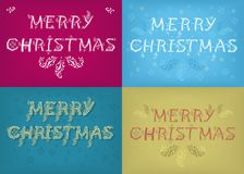 Christmas Cards with Country Patterns. Merry Christmas. Four retro cards with inscriptions by artistic font and country patterns. Vector Illustration Royalty Free Stock Photo