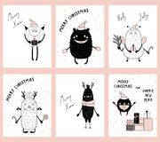Christmas cards with cute funny monsters vector illustration