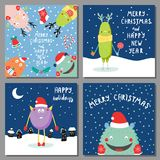 Christmas cards with cute funny monsters royalty free illustration