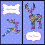 Christmas cards with deers Stock Photo